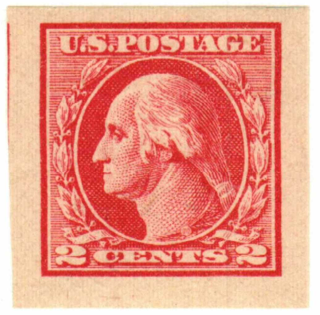 1920 2c Washington, imperforate, carmine rose, type IV