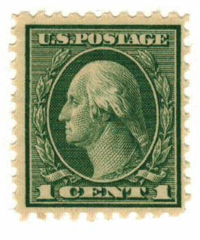 1921 1c Washington, green, perf 10
