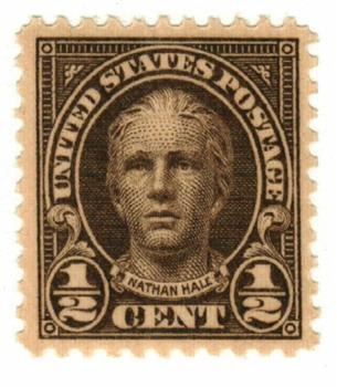 1925 1/2c Nathan Hale, olive brown