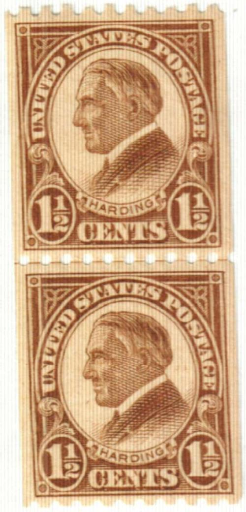 1925 1 1/2c Harding, yellow brown, coil