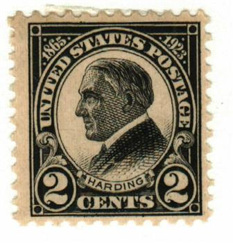 1923 2c Harding, black, perf 11