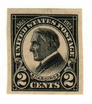 1923 2c Harding, black, imperforate