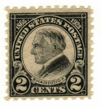 1923 2c Harding, black, perf 10