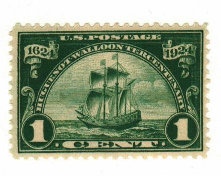 1924 1c Huguenot-Walloon Tercentenary: Ship Nieu Nederland