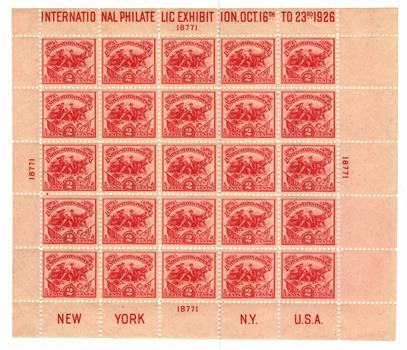 1926 2c Battle of White Plains Souvenir Sheet - International Philatelic Exhibition Issue