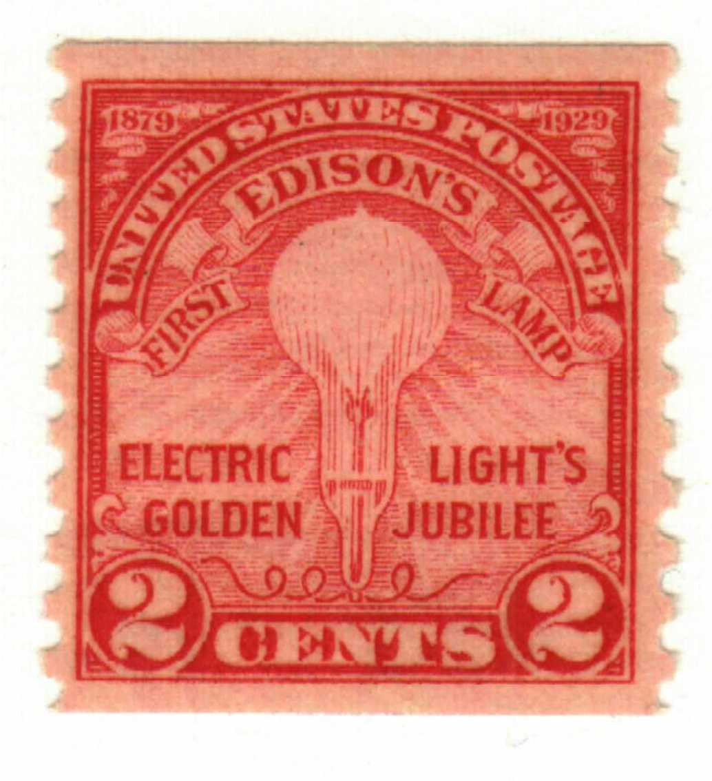 1929 2c Edison's First Lamp, coil perf 10