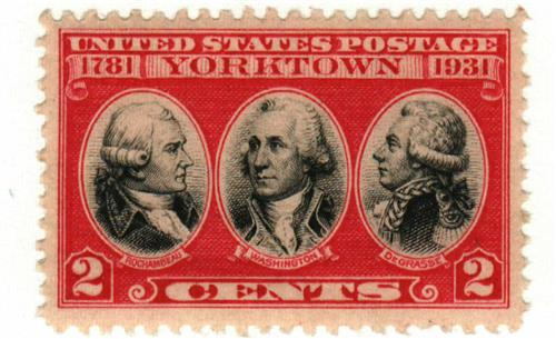 U.S. #703 honors the commanding generals at Yorktown: Washington, Rochambeau, and Degrasse.