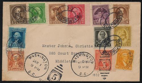 1932 Washington Bicentennials, 12 stamps