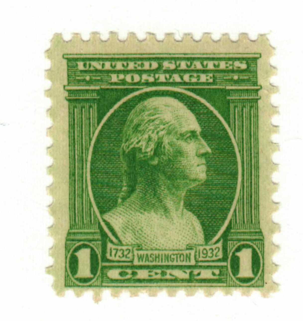 1932 Washington Bicentennial: 1c Washington from the Houdon Bust