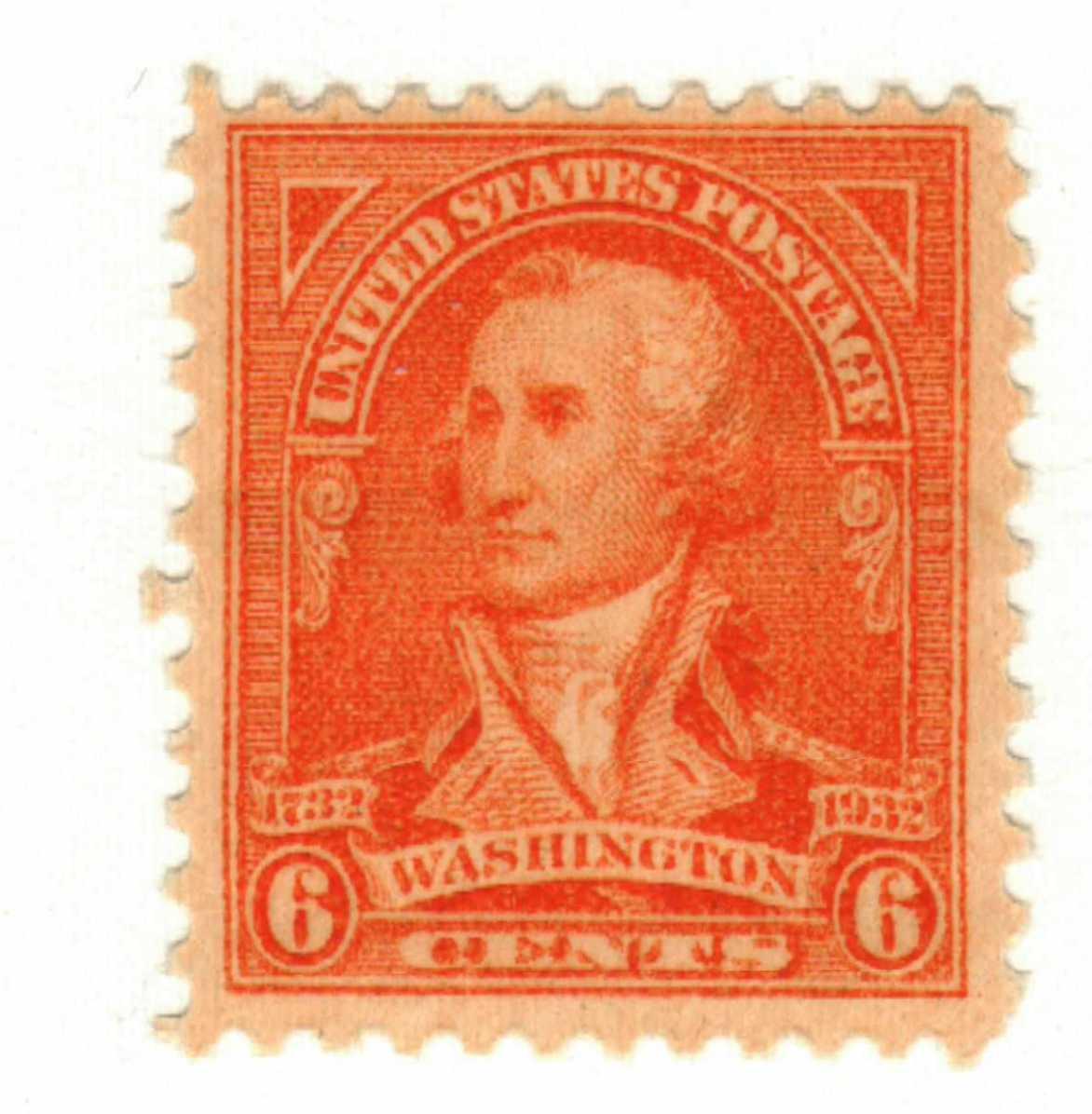 1932 Washington Bicentennial: 6c Washington by John Trumbull