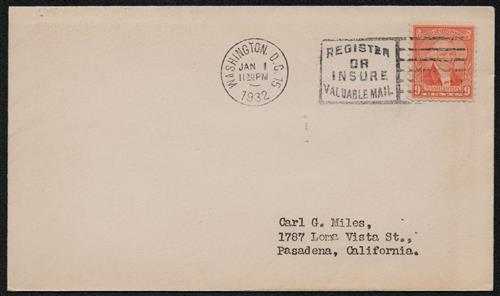 1932 9c Washington by W. Williams