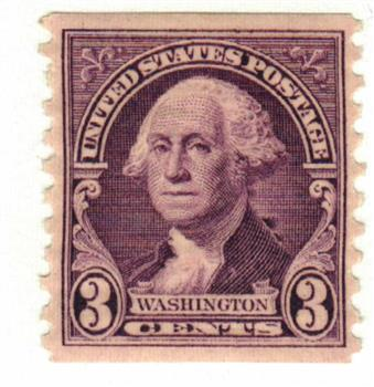 1932 3c Washington, deep violet, coil, vertical perf 10
