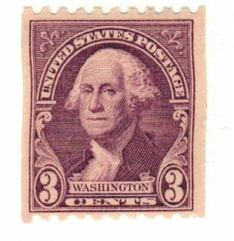 1932 3c Washington, deep violet, horizontal perf 10