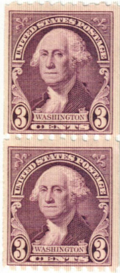 1932 3c Washington, deep violet, horizontal perf 10