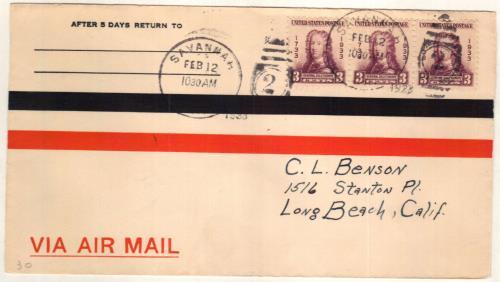 1933 3c Georgia Bicentennial