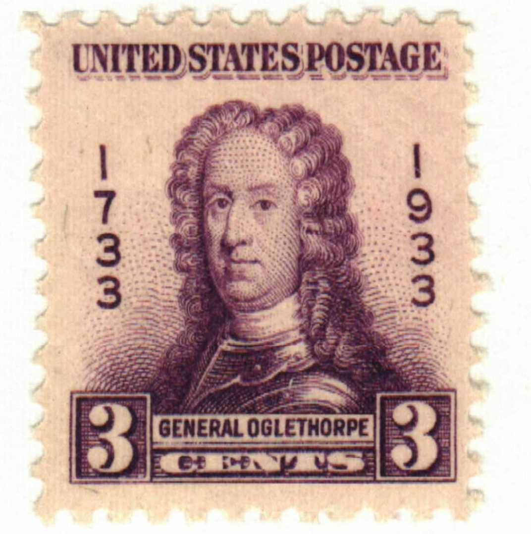 1933 3c General James Edward Ogelthorpe, Georgia Bicentennial