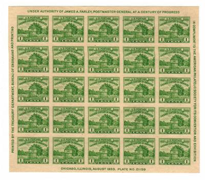 1933 1c Restoration of Fort Dearborn, souvenir sheet