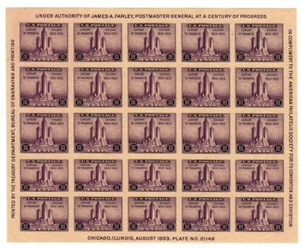 1933 3c Federal Building at Chicago, souvenir sheet