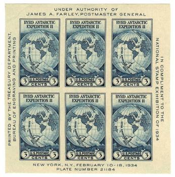 1934 3c Byrd Antarctic Expedition, souvenir sheet