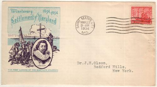 1934 3c Maryland Tercentenary