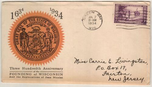 1934 3c Wisconsin Tercentenary For Sale At Mystic Stamp Company