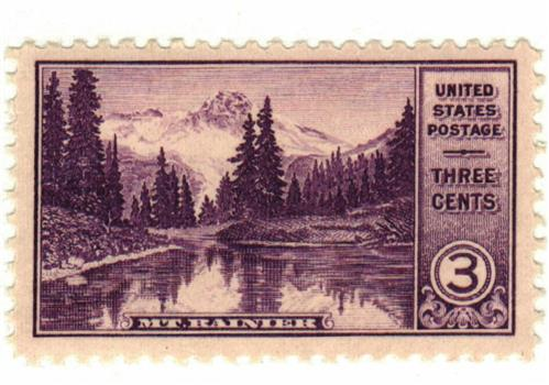 1934 3c National Parks: Mt. Rainier, Washington
