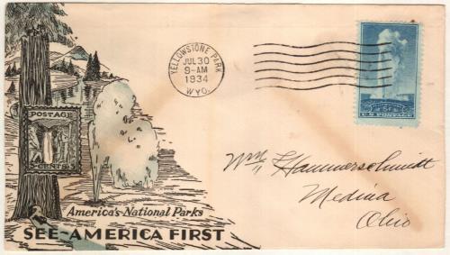 1934 5c National Parks: Yellowstone, Wyoming
