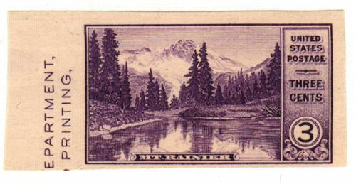 1934 3c Mt Rainier, imperf single