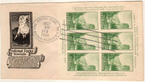 1934 1c National Parks: Yosemite, California, souvenir sheet