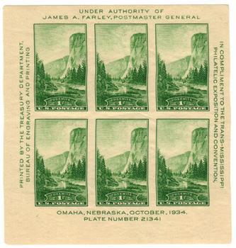 1934 1c National Parks: Yosemite, California, souvenir sheet