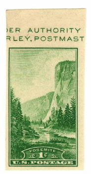 1934 1c Yosemite, imperf single