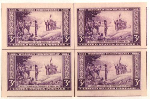 1935 3c Wisconsin Tercentennial, imperf, no gum