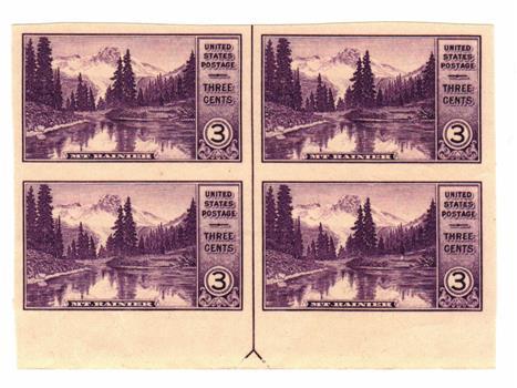 1935 3c National Parks: Mt. Rainier, imperf, no gum