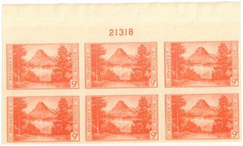 1935 9c National Parks: Glacier National Park, imperf, no gum