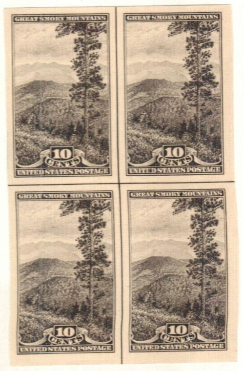 1935 10c National Parks: Great Smoky Mountains, imperf, no gum