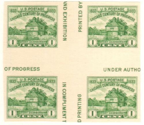 1935 1c Restoration of Fort Dearborn, single stamp