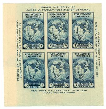 1935 3c Byrd Expedition, imperf souvenir sheet