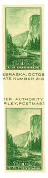 1935 1c Yosemite, no gum, imperf single