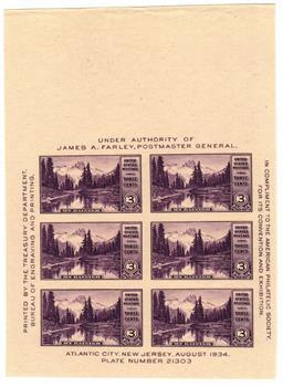 1935 3c National Parks: Mt. Rainier, Washington, souvenir sheet