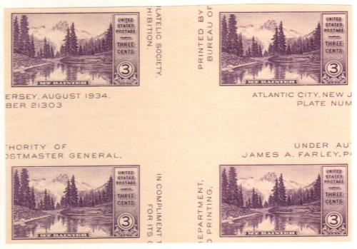 1935 3c Mt. Rainier, no gum, imperf single