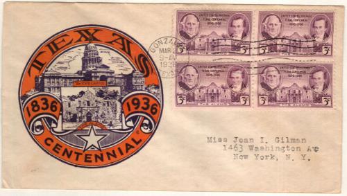 1936 3c Texas Centennial
