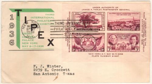 1936 3c Third International Philatelic Exposition, souvenir sheet