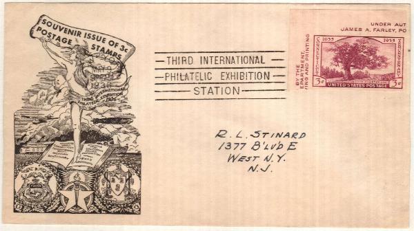 1936 3rd Intl Philat Ex Imp 3c