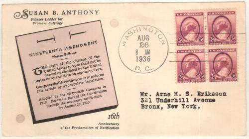 1936 3c Susan B. Anthony