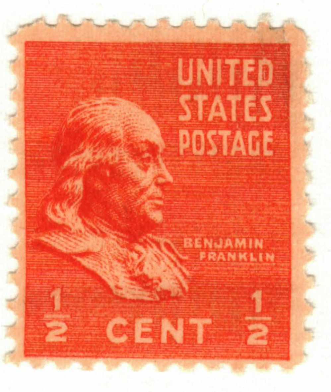 1938 Franklin 1 2c Orange For Sale At Mystic Stamp Company