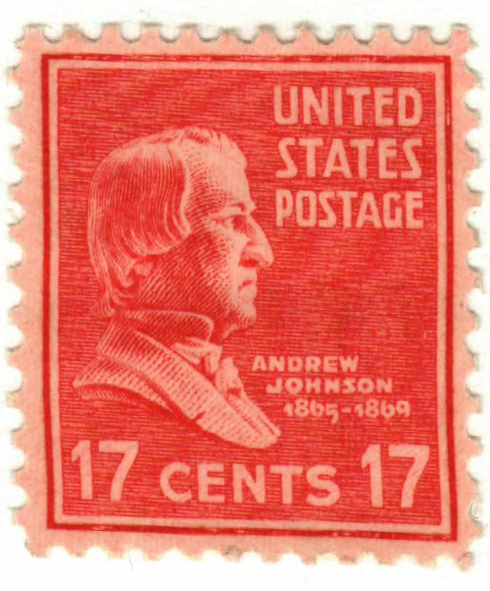 1938 17c Andrew Johnson, rose red