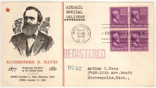 1938 19c Hayes, purple