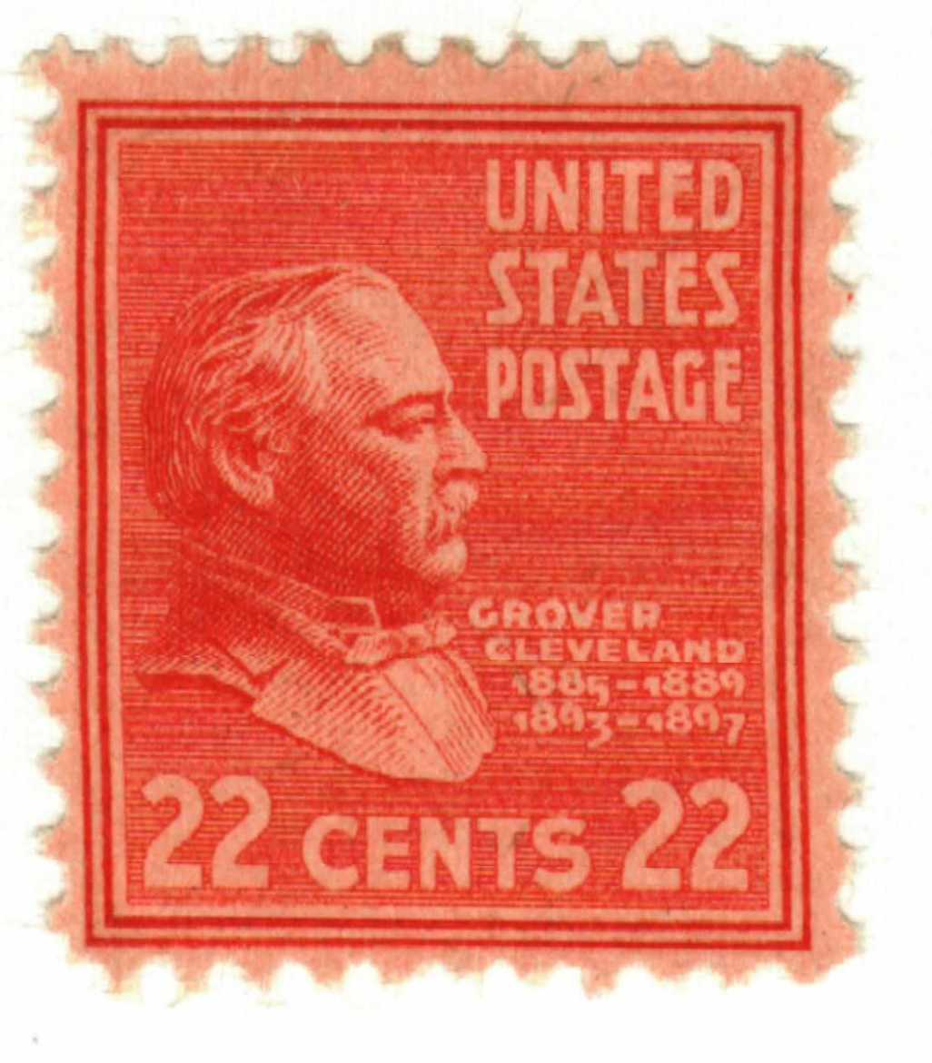 1938 22c Cleveland, vermillion