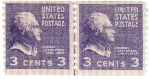 1939 Jefferson 3c Purple For Sale At Mystic Stamp Company