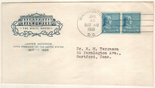 1939 5c James Monroe, bright blue